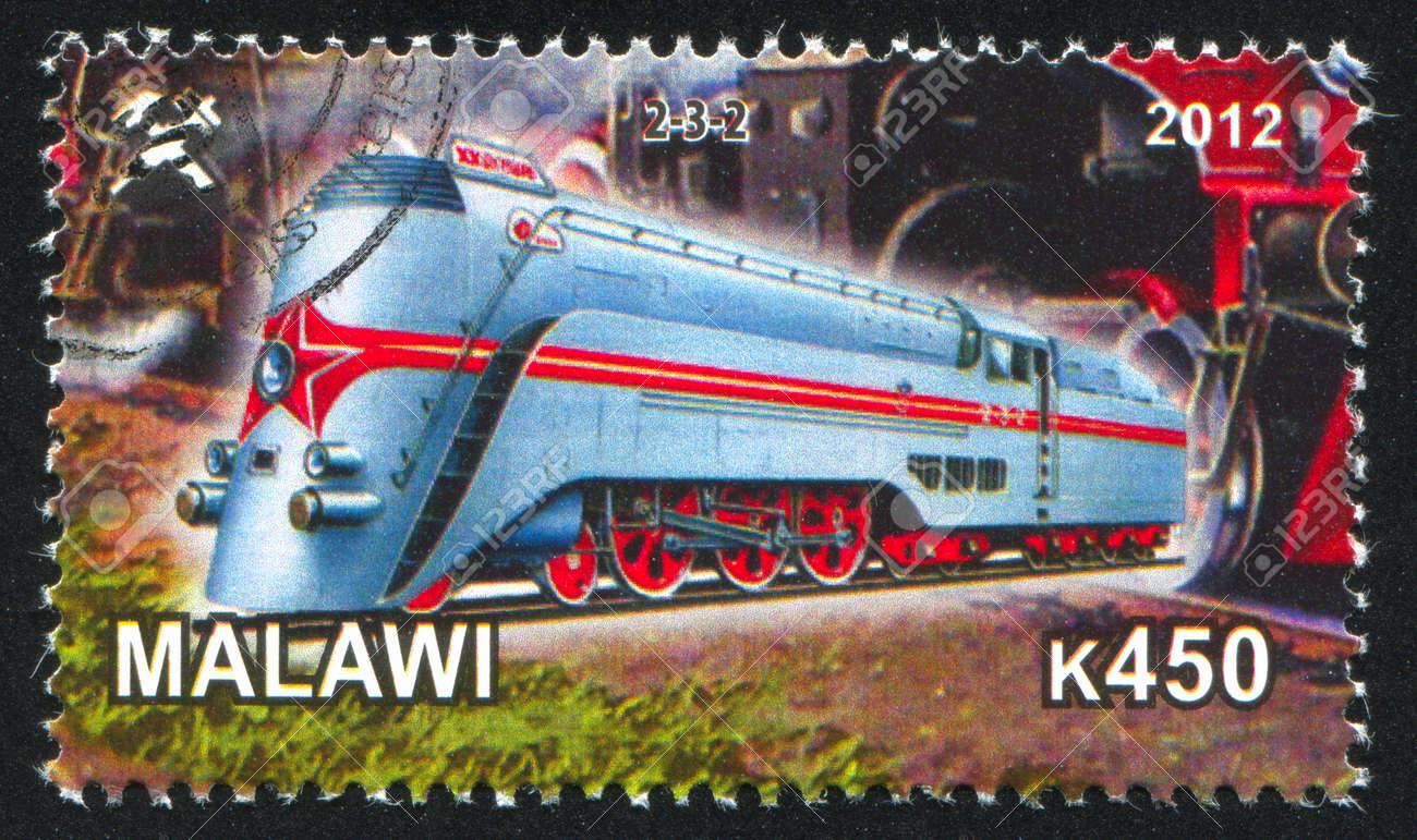 Malawi - CIRCA 2012: stamp printed by Malawi, shows Steam locomotive, circa 2012 Stock Photo - 23384343