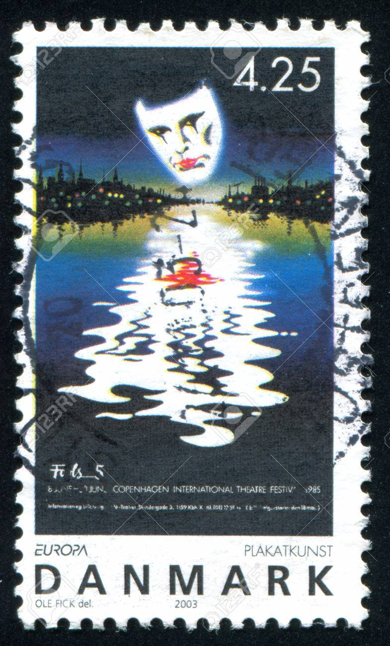 DENMARK - CIRCA 2003: stamp printed by Denmark, shows Poster for Copenhagen International Theater Festival, by Ole Fick, circa 2003 - 36605735