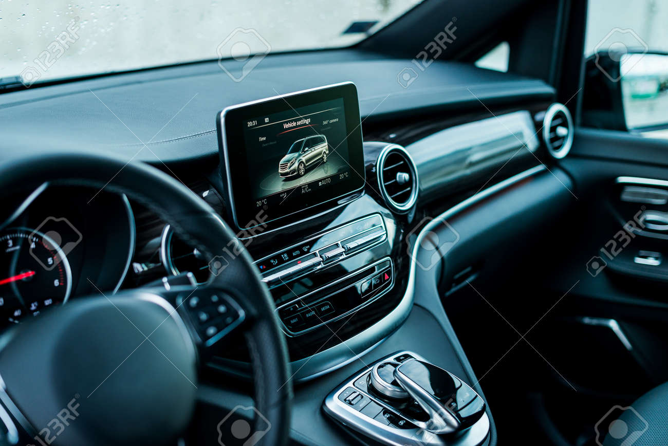 Auto Luxury Car Steering Wheel And Dashboard With Monitor Stock