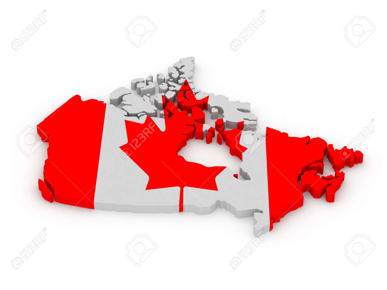 land of canada painted in color of canadian flag isolated on