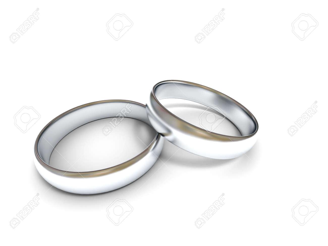 Zwei Silberne Hochzeit Ringe Auf Weissem Hintergrund Hochwertige 3d