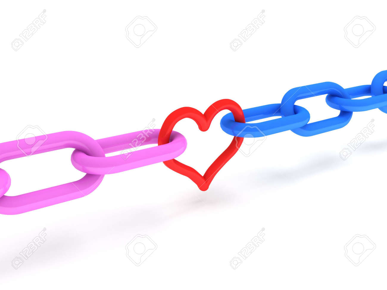 Love. Pink and blue Chains with red heart isolated on white background. High quality 3d render. Stock Photo - 6973325