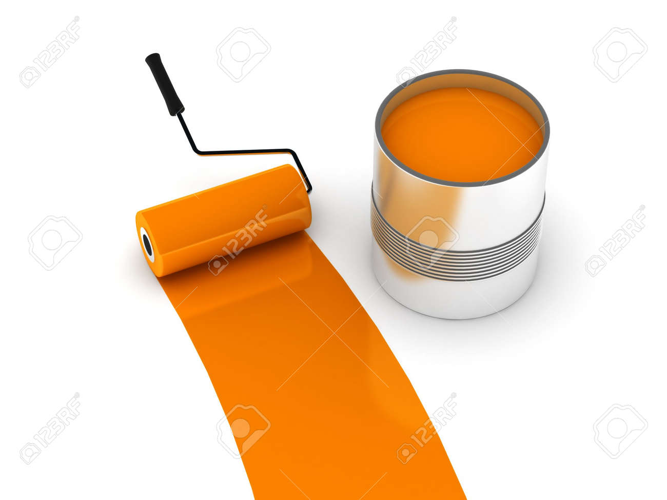 Orange Paint orange paint. roller and steel can isolated on white background