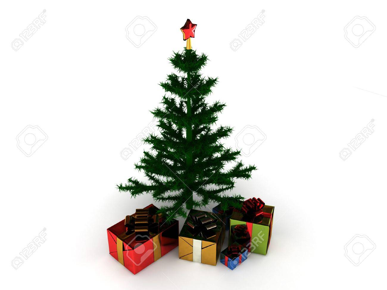 Christmas Tree With Gifts Isolated On White Background High  - Quality Christmas Tree