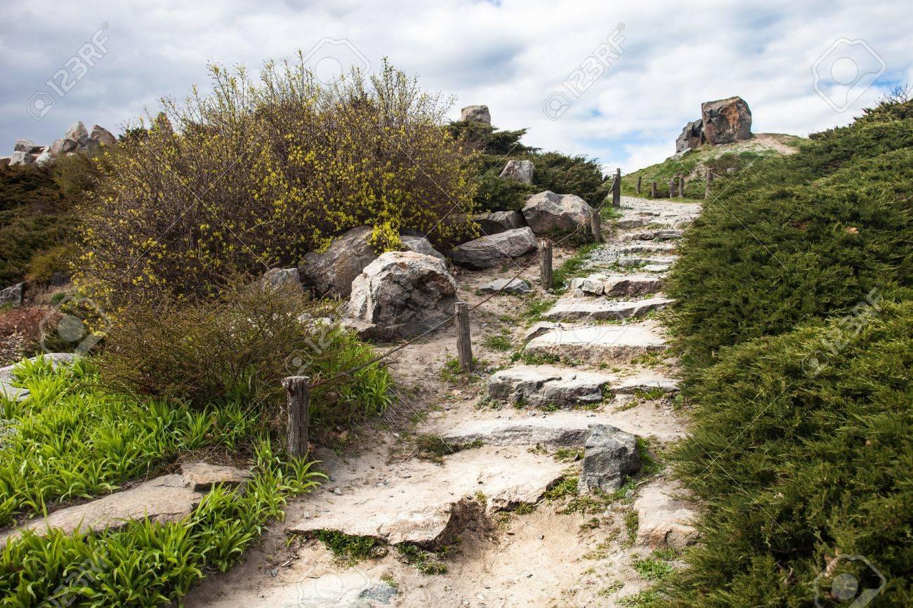 Stony escaliers dans la rocaille à Kiev jardin botanique.