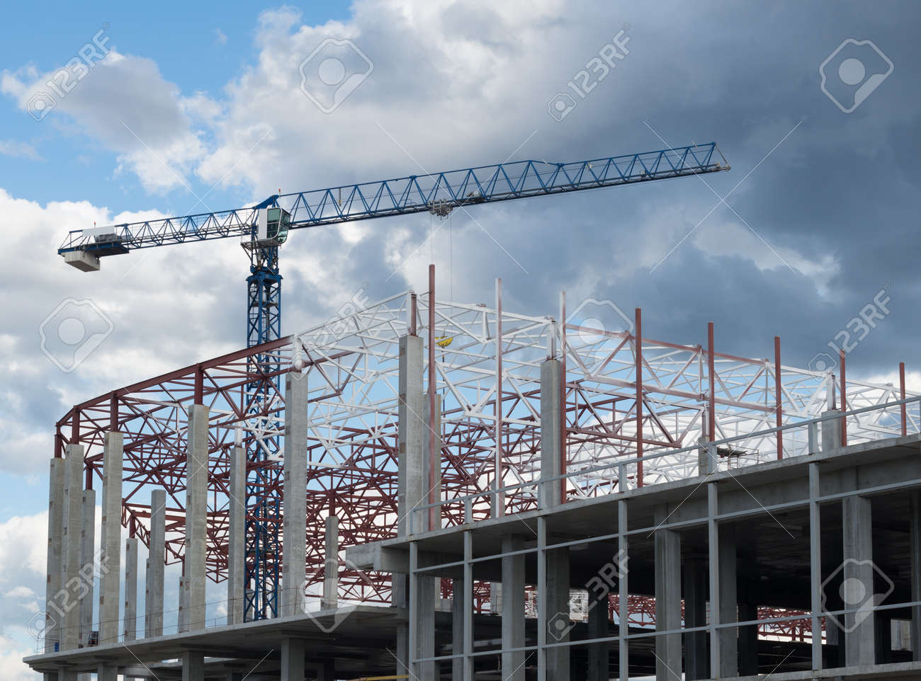 construction site framework of the new building and tower crane