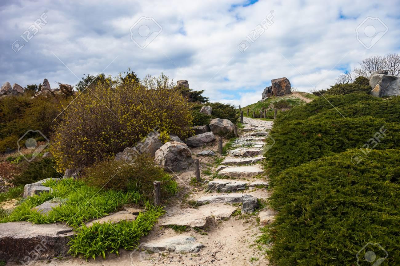 Escaliers Stony dans la rocaille à Kiev jardin botanique.