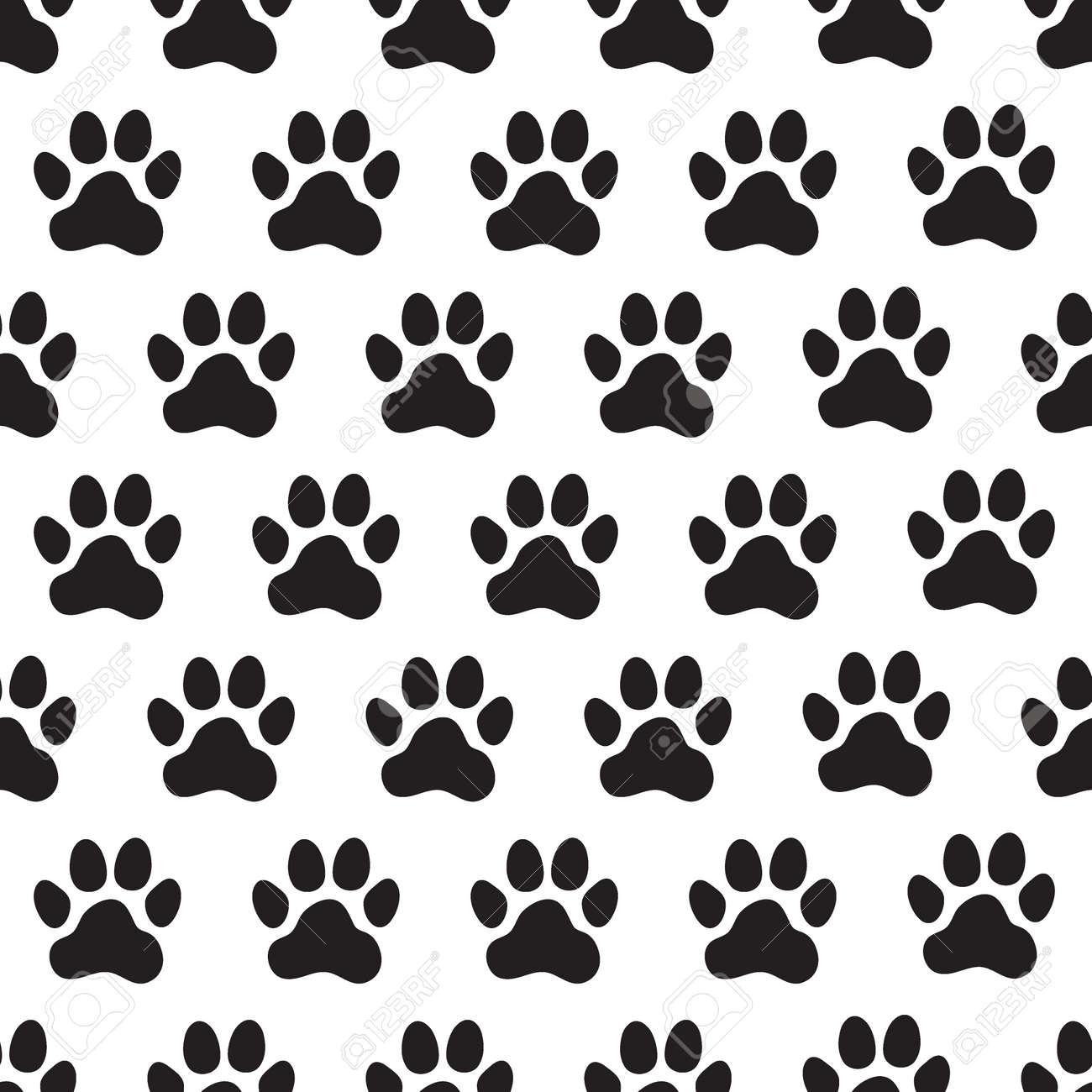 Paw Prints Seamless Pattern. Animal's (dog's) Paws. Vector Illustration.  Royalty Free Cliparts, Vectors, And Stock Illustration. Image 124789062.
