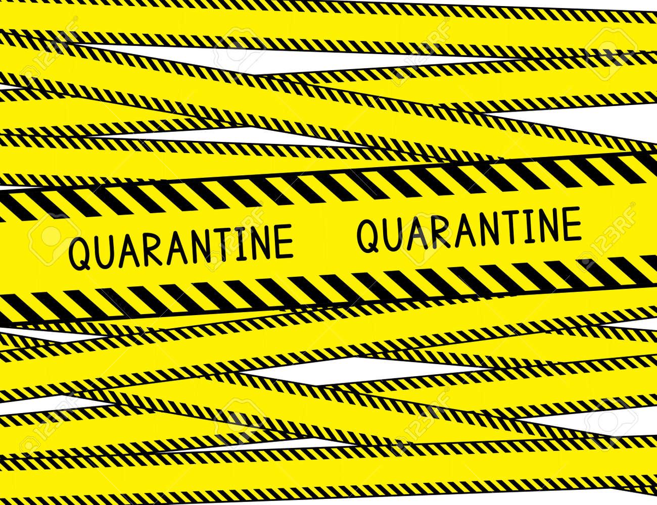 Quarantine. Restricted area. Quarantine zone. Warning stripes. Vector illustration. - 146261706