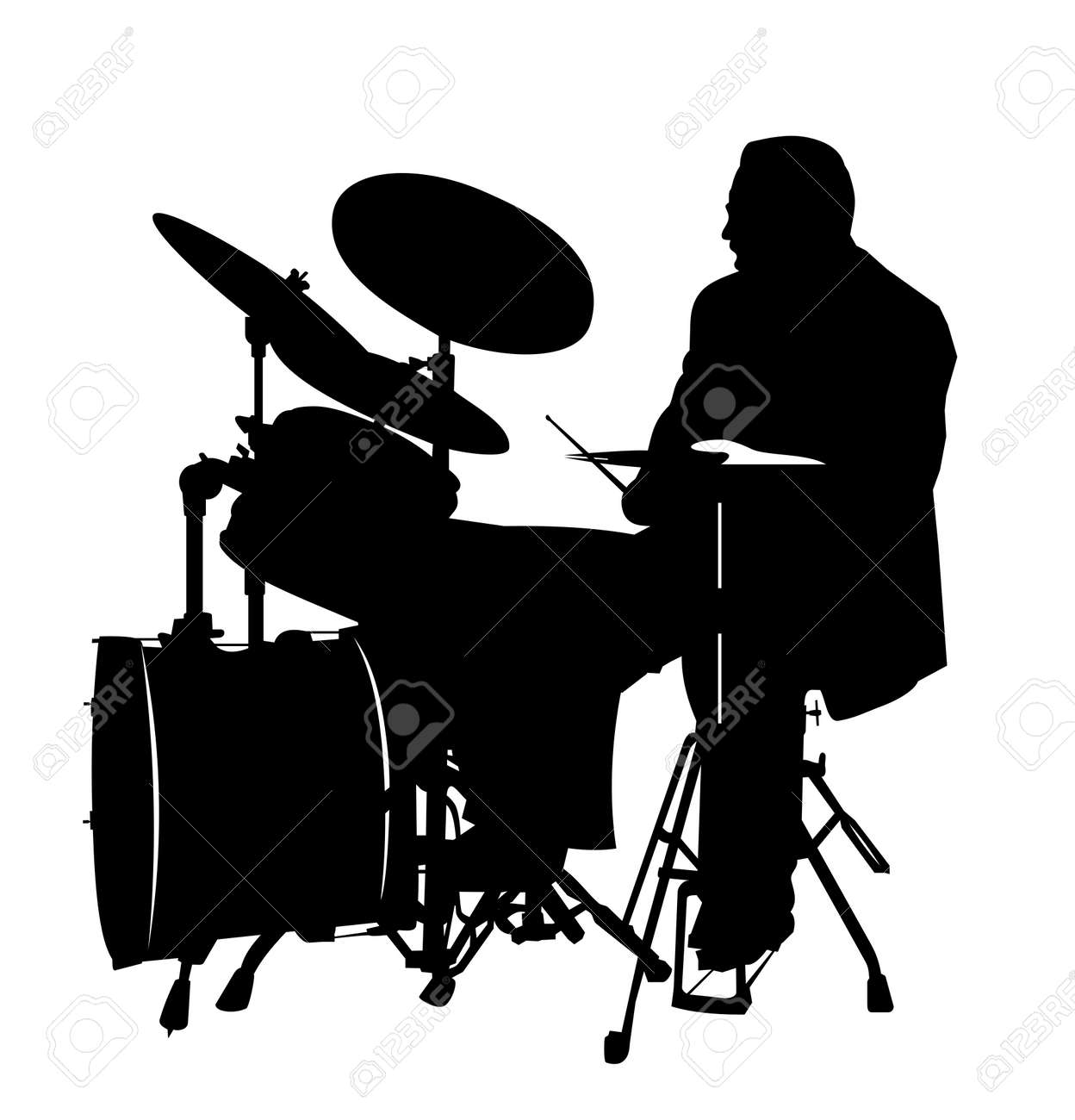 black drummer silhouette, high details Stock Vector - 2939360