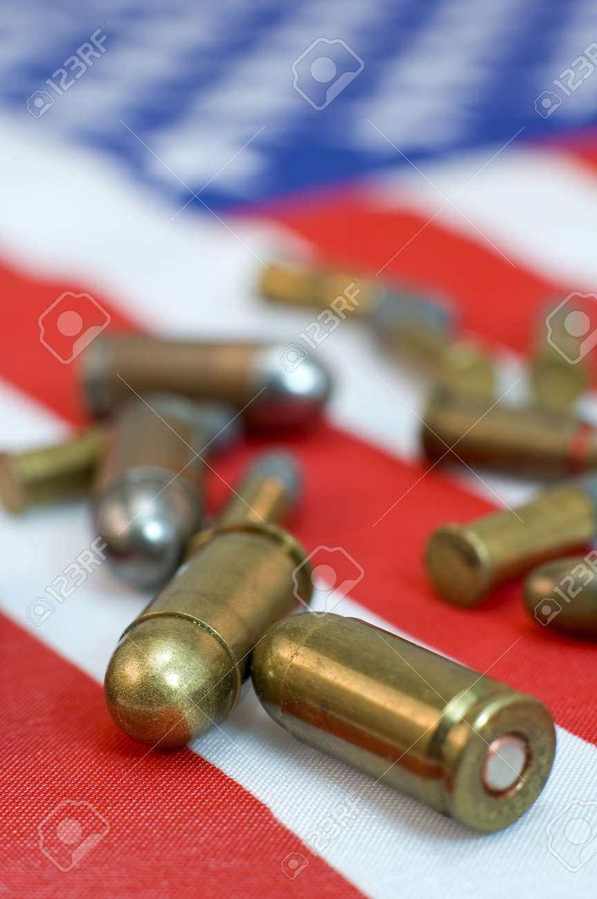 several gun and rifle ammunition of american flag Stock Photo - 5690395