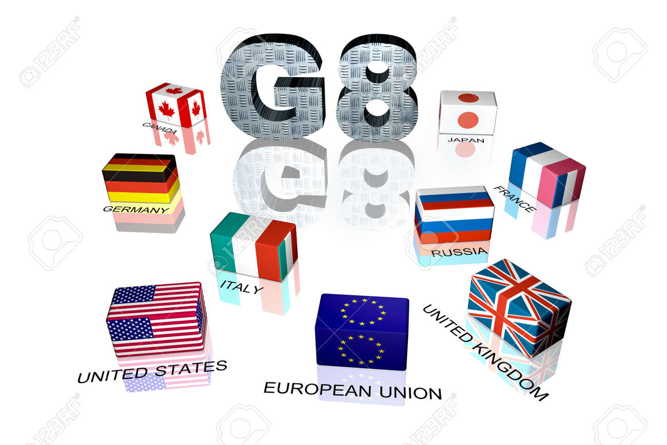 3d flag objects created as Great Eight flags, white background Stock Photo - 6042512