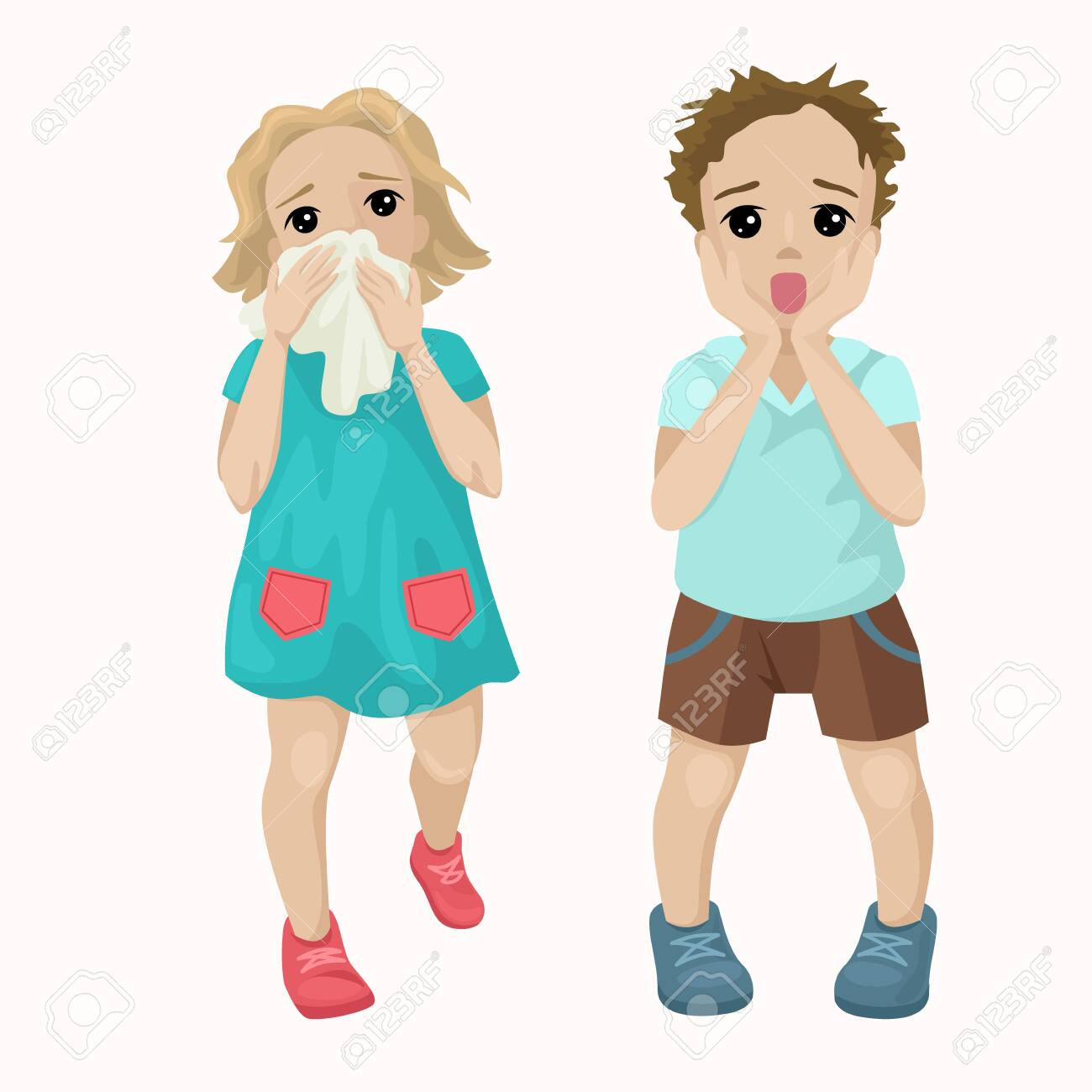 The girl runs from the fire, saves lives. The boy is frightened, screaming with fear, afraid of the incident. Children learn life safety. Vector cute characters on a white background. - 122175593
