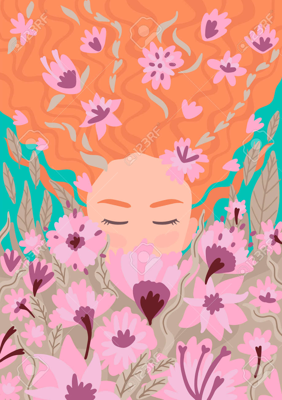 Woman with long hair. Smelling flowers, closed her eyes, around..