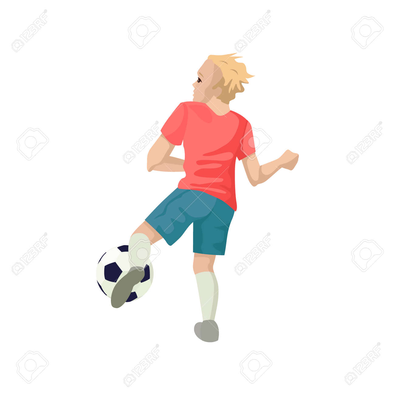 Football player kicks the ball. View from the back. Vector illustration of character. - 140000381