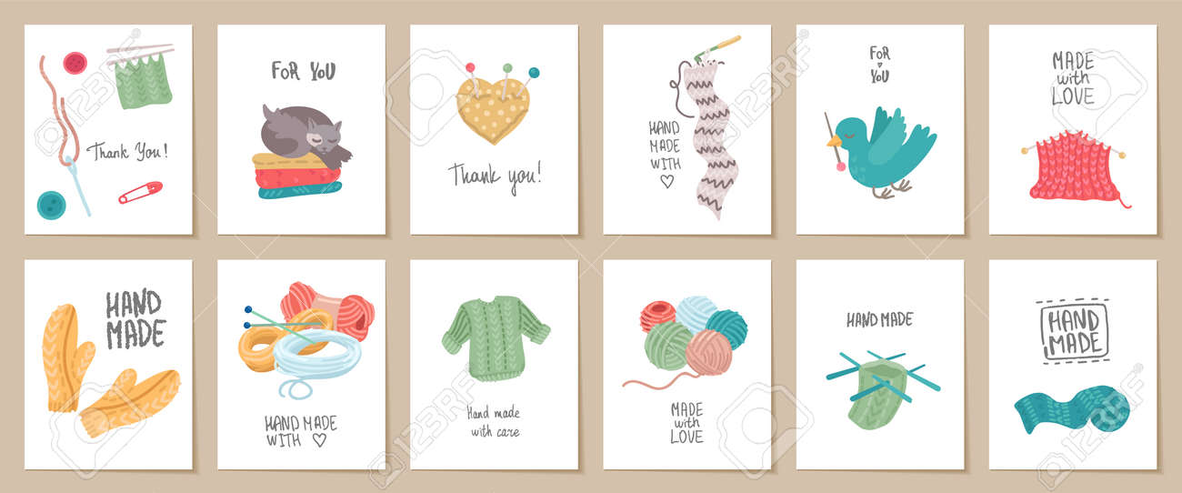 Astonishing Set Of Needlework Handmade Card Templates Labels Or Tags For Funny Birthday Cards Online Alyptdamsfinfo