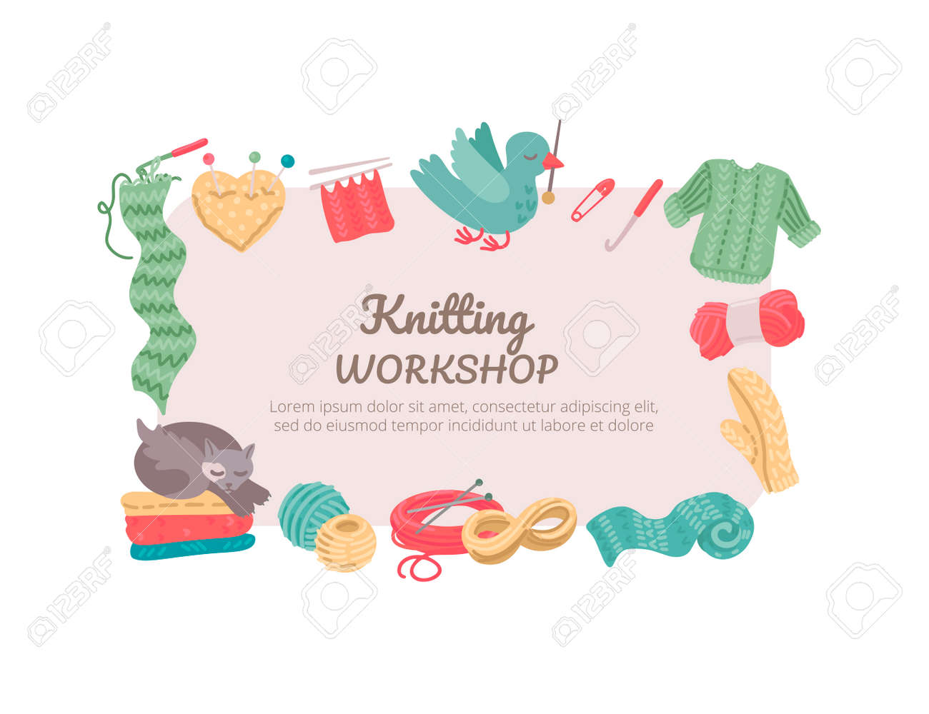 Knitting Workshop Knitting And Crochet Tools Yarn Needles Royalty Free Cliparts Vectors And Stock Illustration Image 142244287