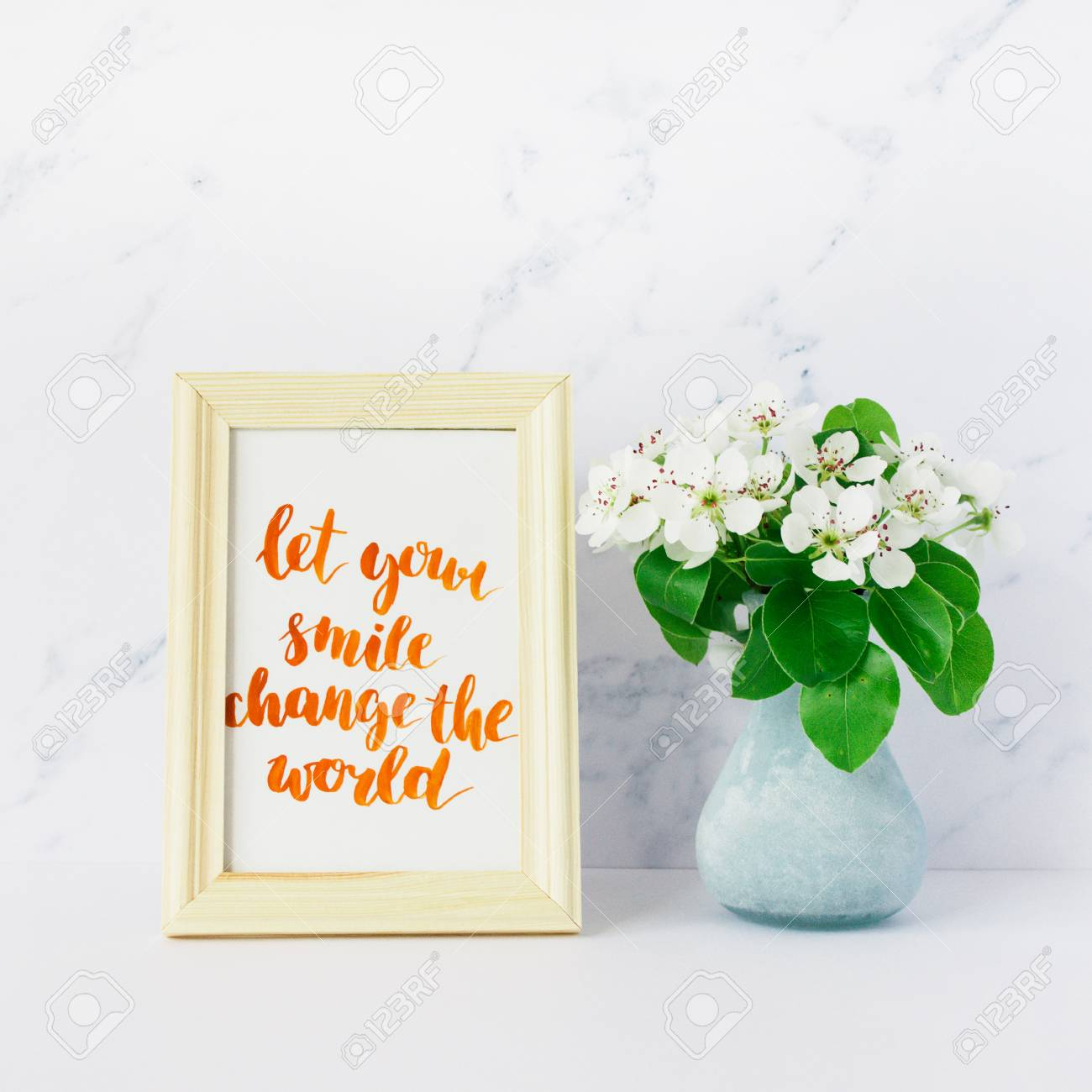 Flowers Of Apple Tree In Vase Card With Inspiration Quote Let