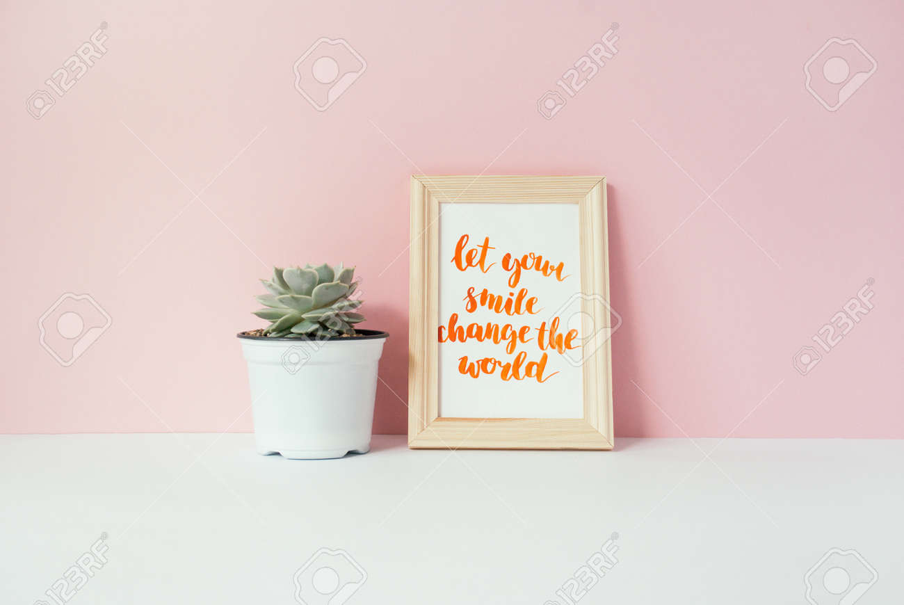 Succulent In White Pot And Card With Inspirational Quote Let