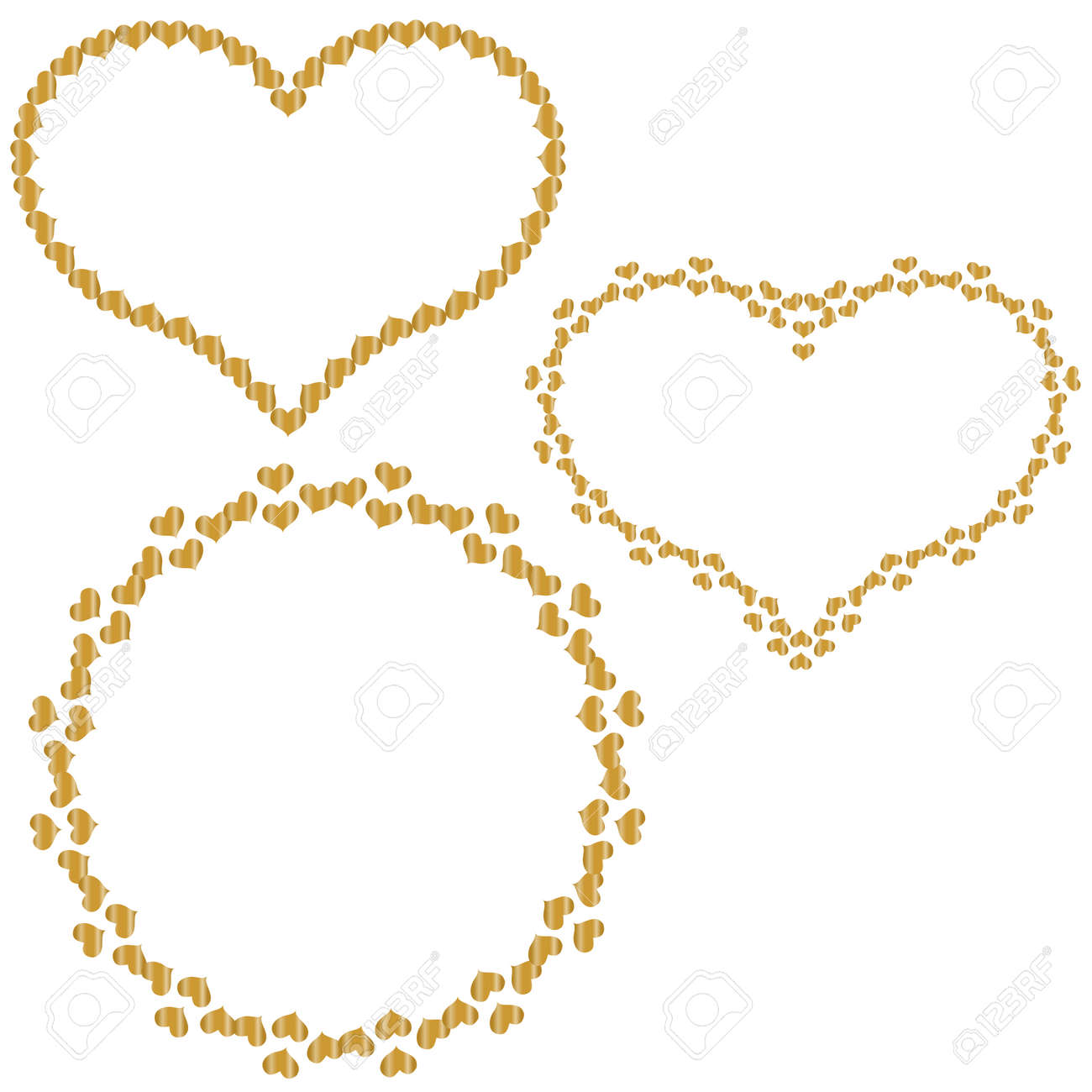 Set Of Frames In The Shape Of Heart Of Small Gold Hearts Isolated