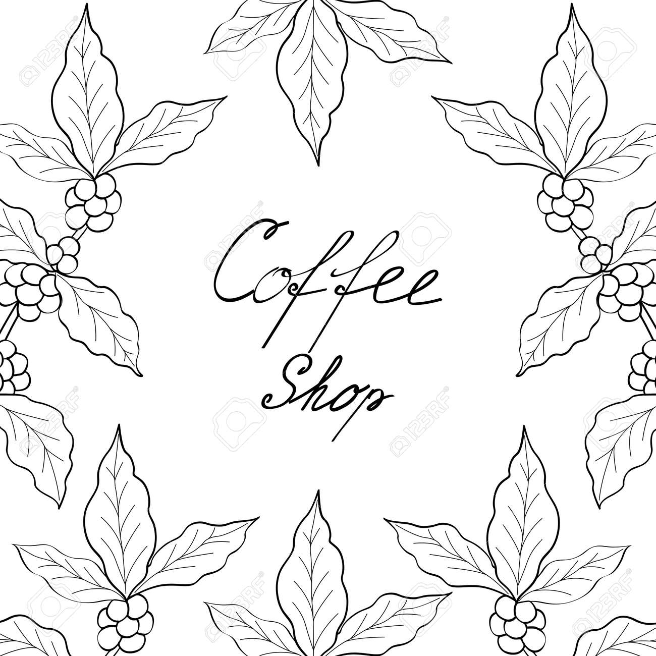 Organic coffee leaf bean hand drawn template banner lettering organic coffee leaf bean hand drawn template banner lettering sketch style altavistaventures Image collections