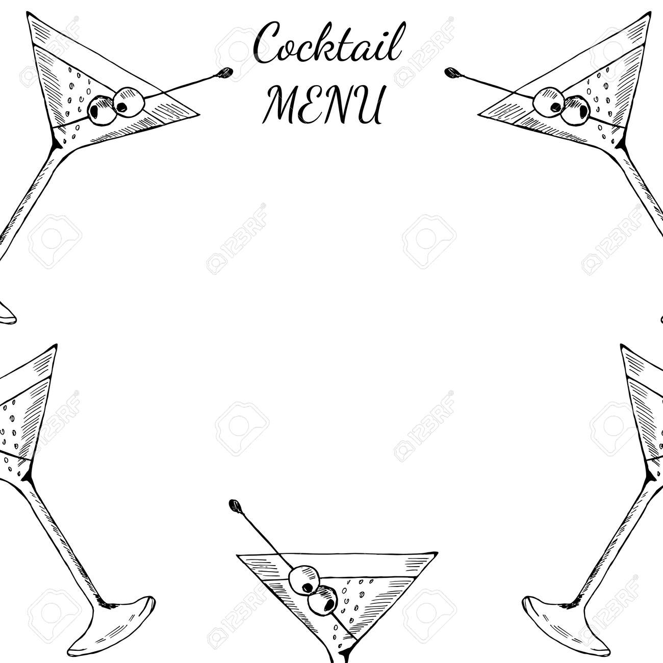 cocktails menu card design template menu blank with space for text for restaurant cafe