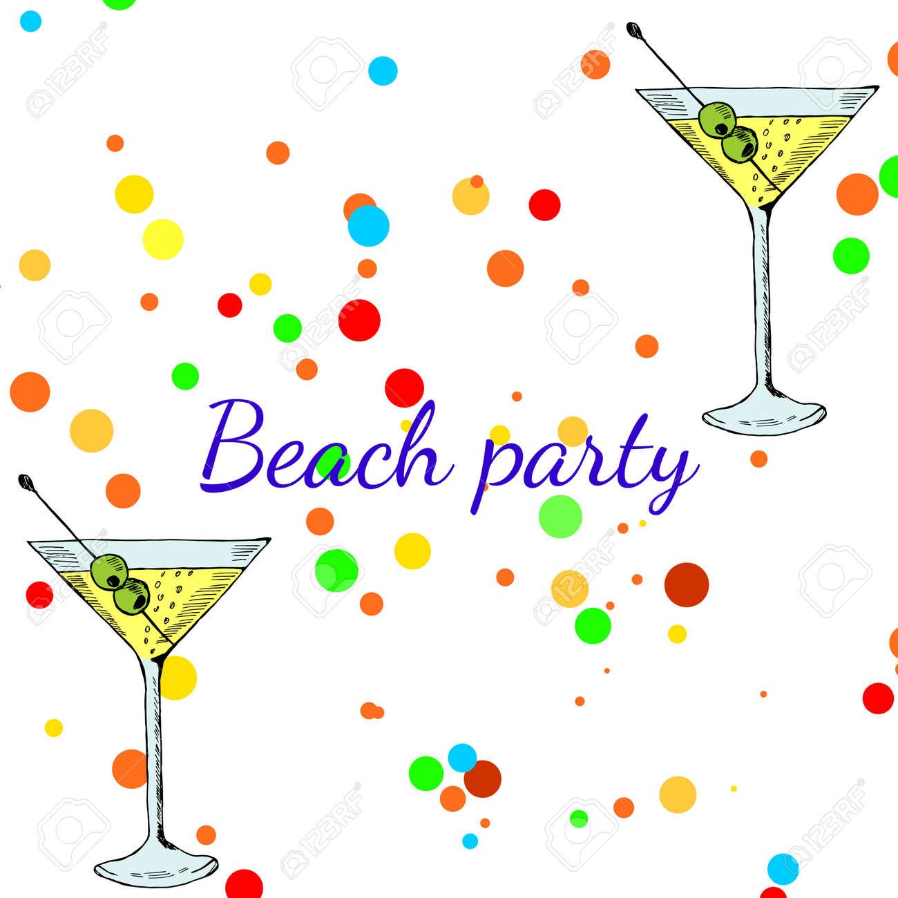 Summer beach party banner with martini cocktail cocktails menu summer beach party banner with martini cocktail cocktails menu card design template menu blank maxwellsz