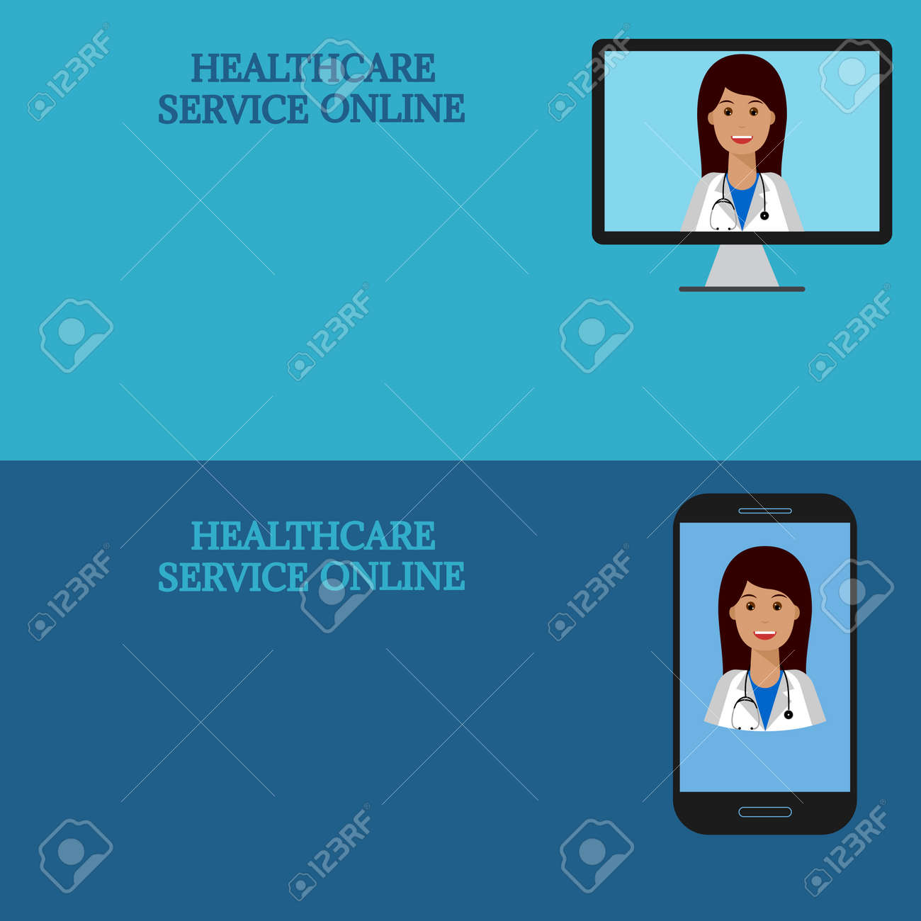 Horizontal Medical Banners Advice Online Telemedicine Woman Doctor On Computer Screen And