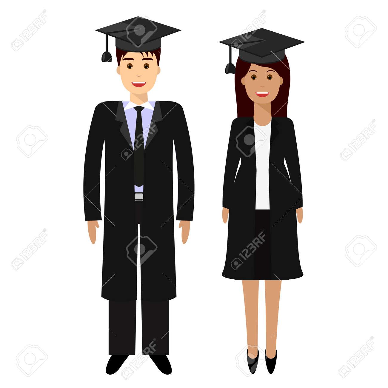 ebae0364e Foto de archivo - Ilustración plana moderna de la licenciatura graduada de  los jóvenes