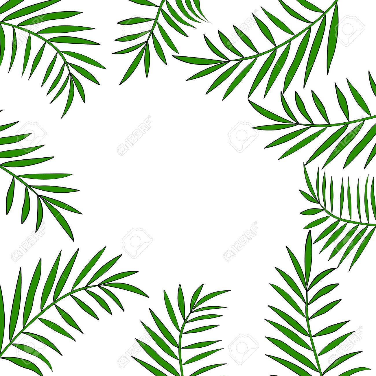 palm tree leaves border 2 royalty free cliparts vectors and stock rh 123rf com  palm tree leaves vector free