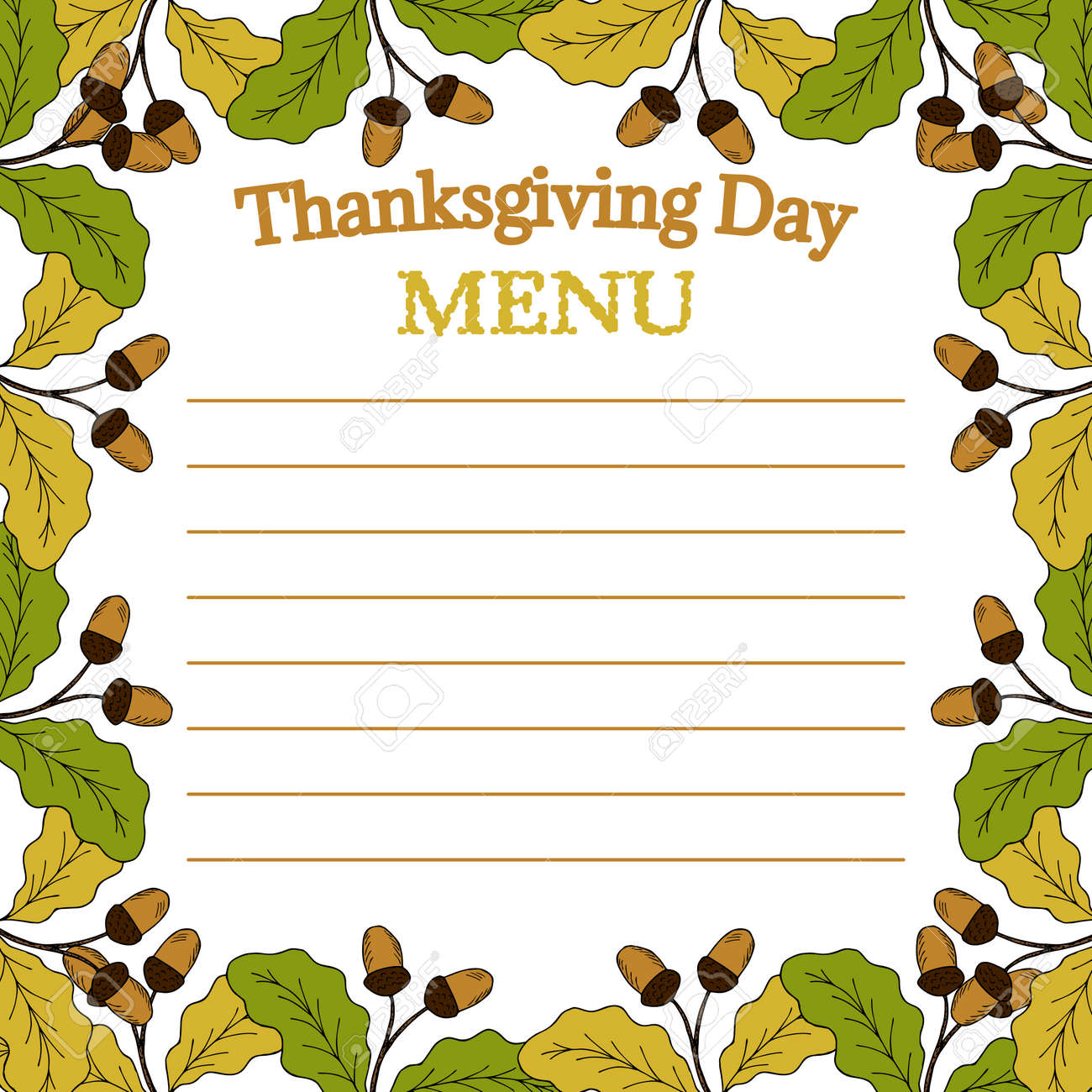 Thanksgiving Day Menu Sketch Template For Restaurant And Cafe