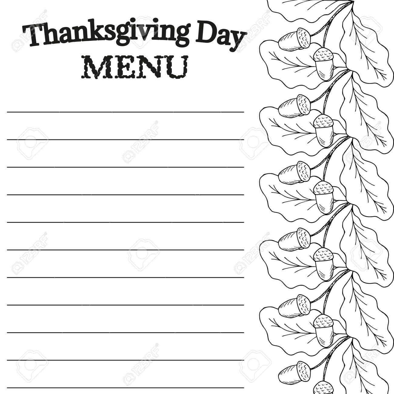 Plantilla De Dibujo Del Menú Del Día De Acción De Gracias. Para ...