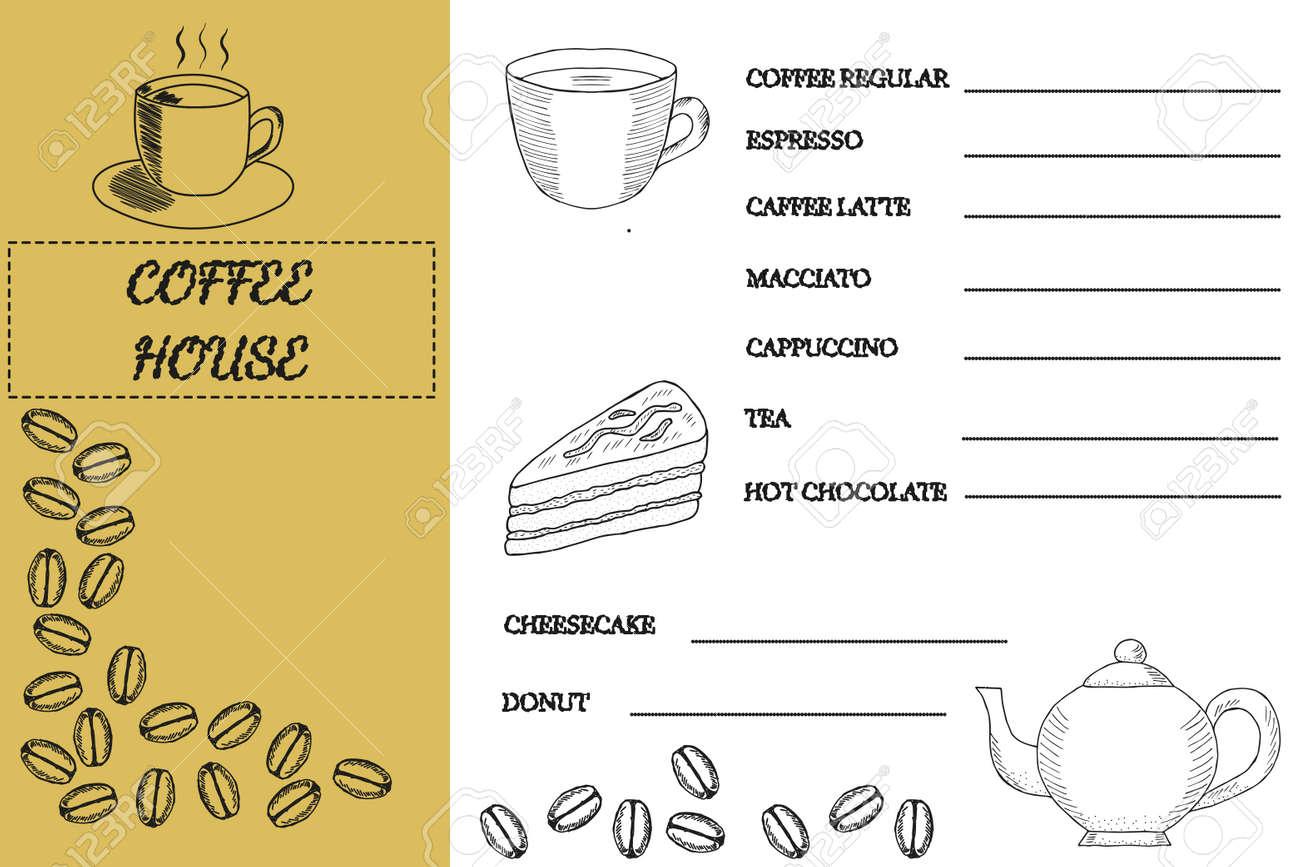 Kaffeestube, Hausschablonen-Gekritzeldesign. Kaffee Menü Tischset ...