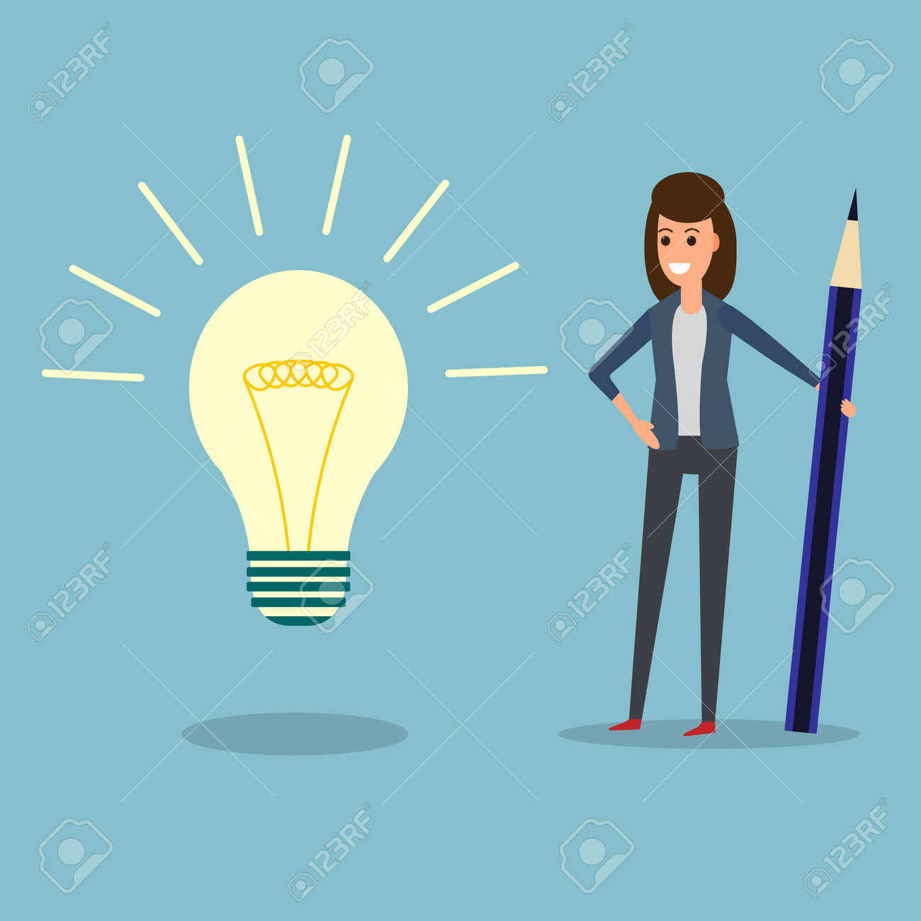 idea office supplies home. Idea Office Supplies. Happy Businesswoman Holding Pen Or Pencil, Looking At Bulb. Supplies Home N