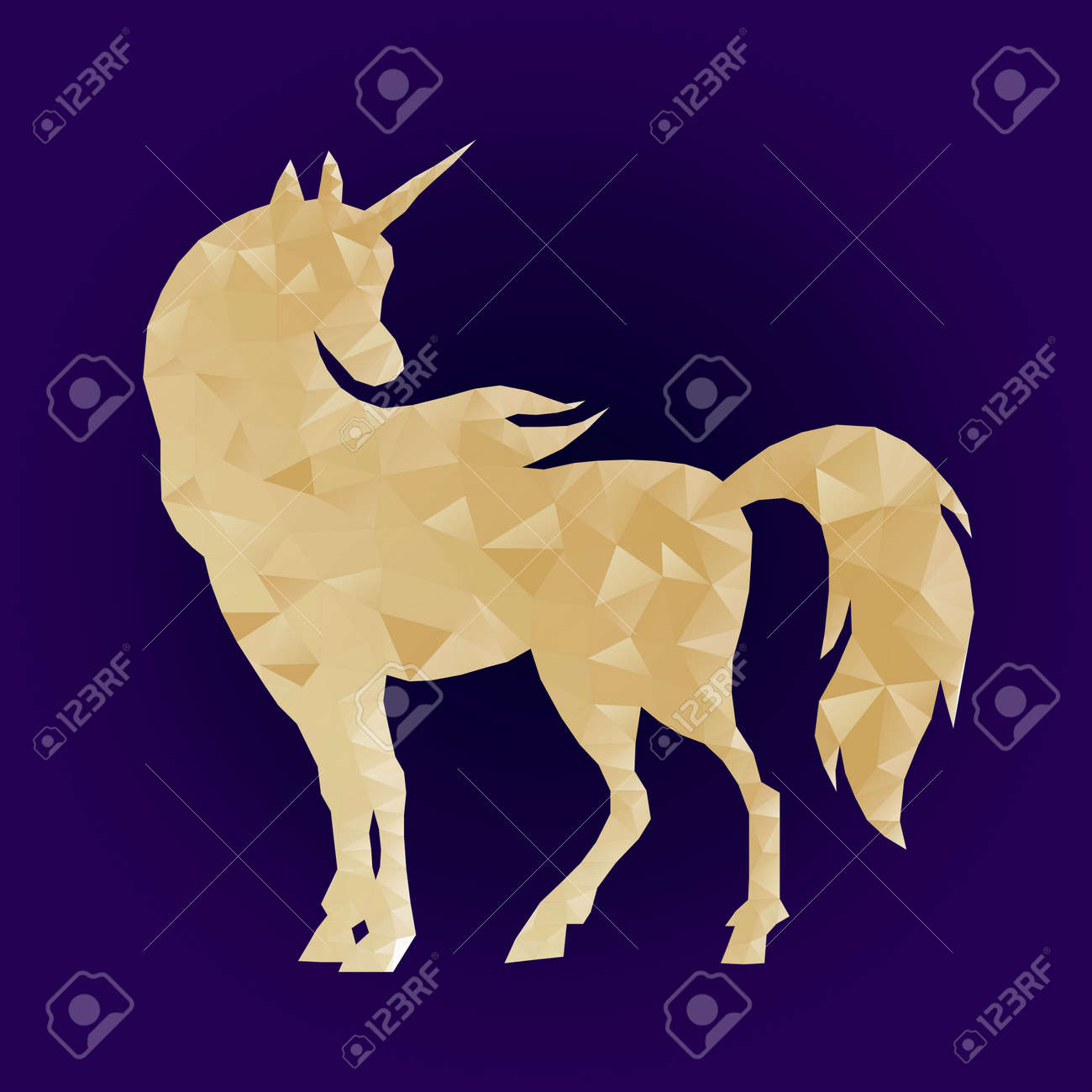 Geometric Triangular Polygonal Illustration Of Unicorn With Gradient Royalty Free Cliparts Vectors And Stock Illustration Image 93464777
