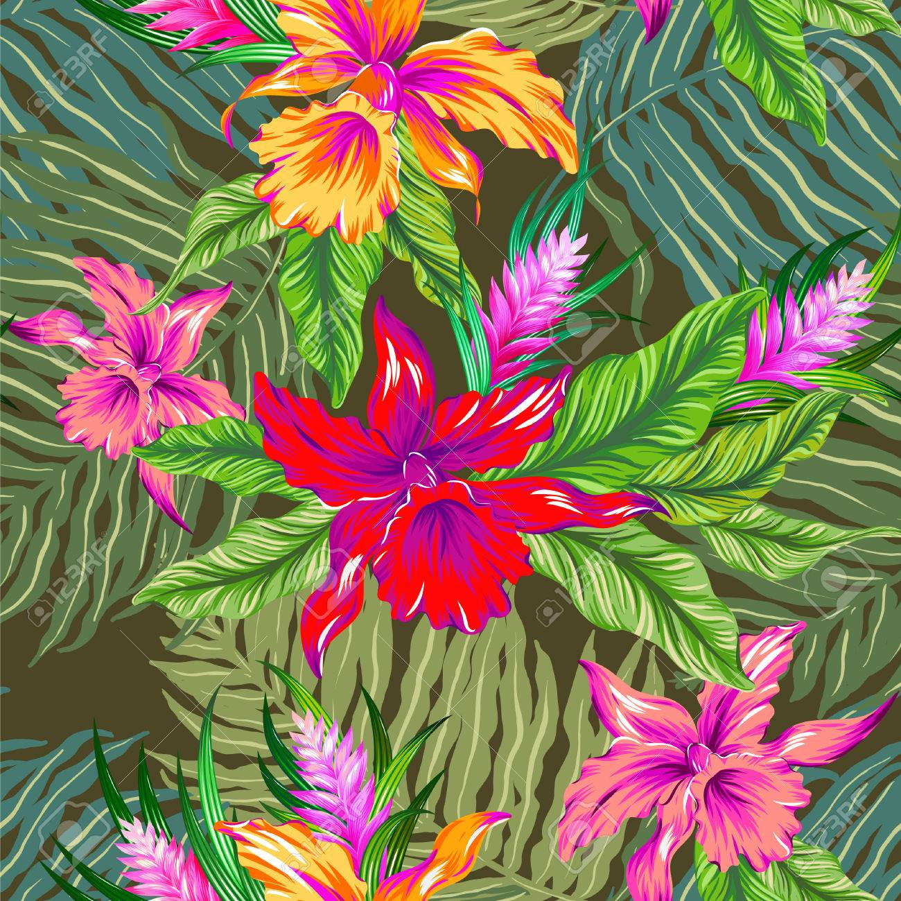 Colorful hawaiian pattern seamless design with exotic flowers colorful hawaiian pattern seamless design with exotic flowers and orchids vintage style illustration izmirmasajfo Images