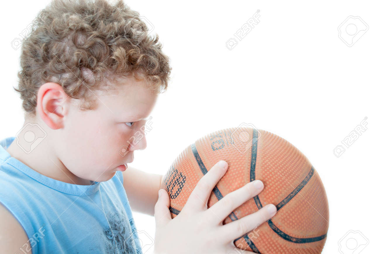 boy with a basketball on a white background Stock Photo - 11455530