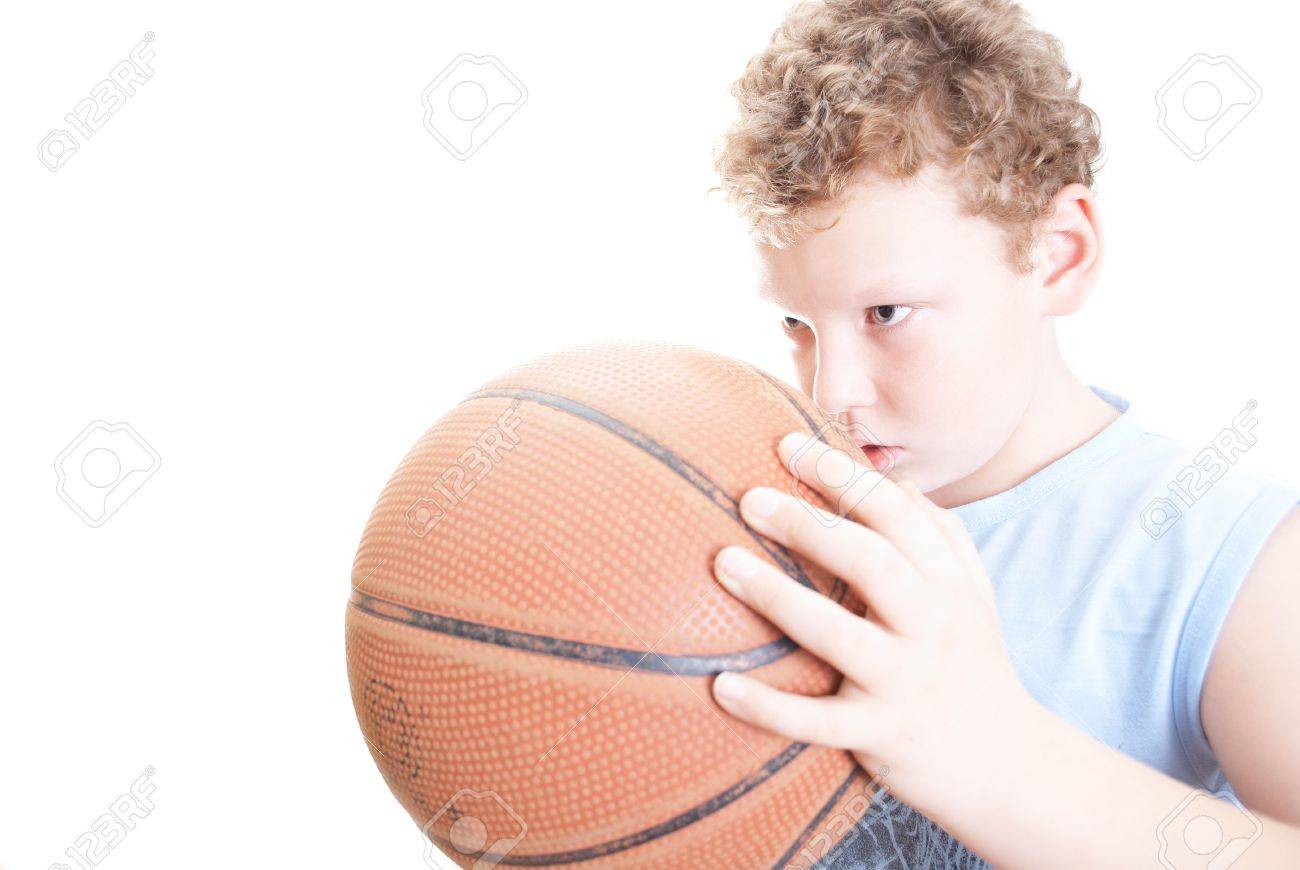 boy with a basketball on a white background Stock Photo - 11455527