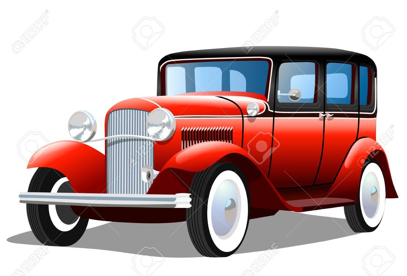 Old retro car on white background, vector illustration - 104597643