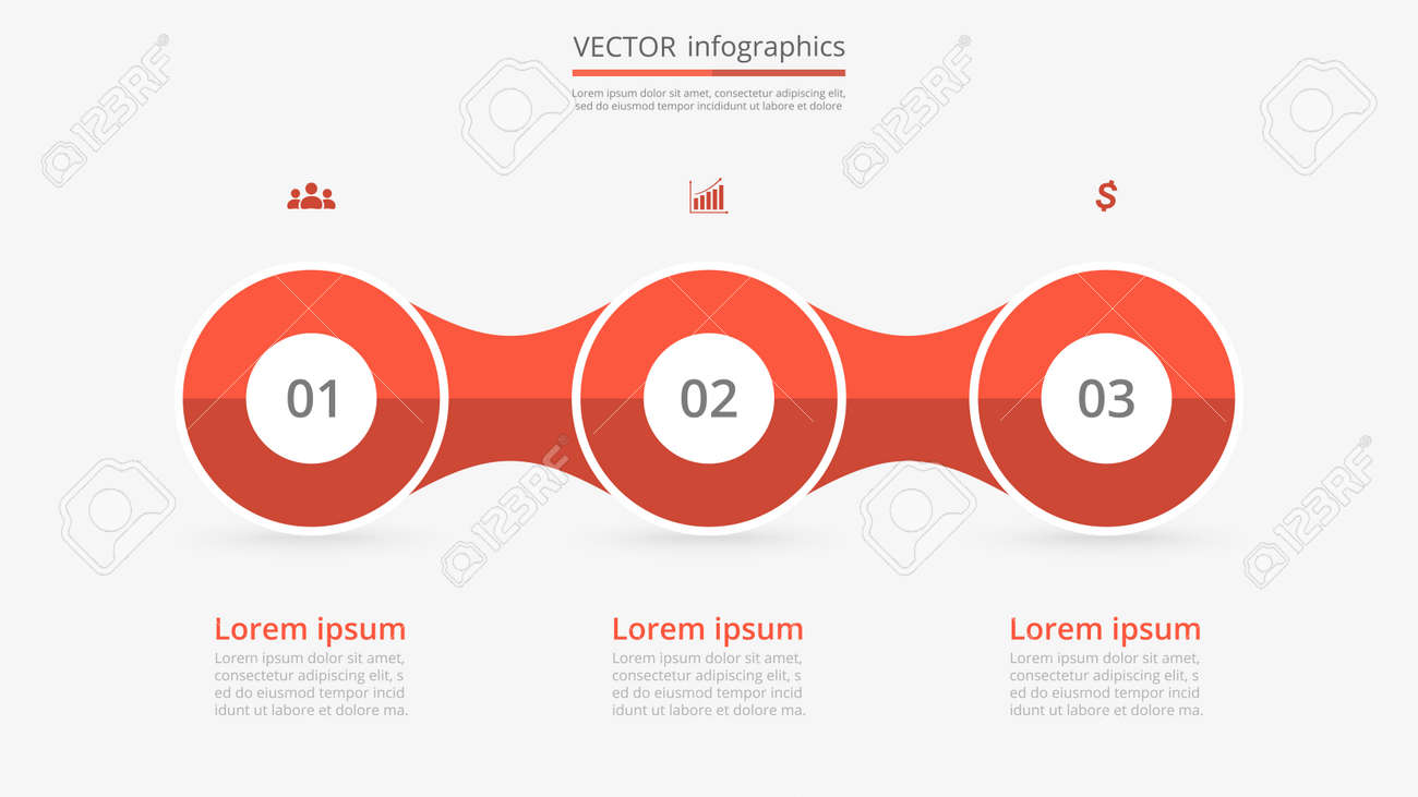 step by step infographic template presentation slide with 3