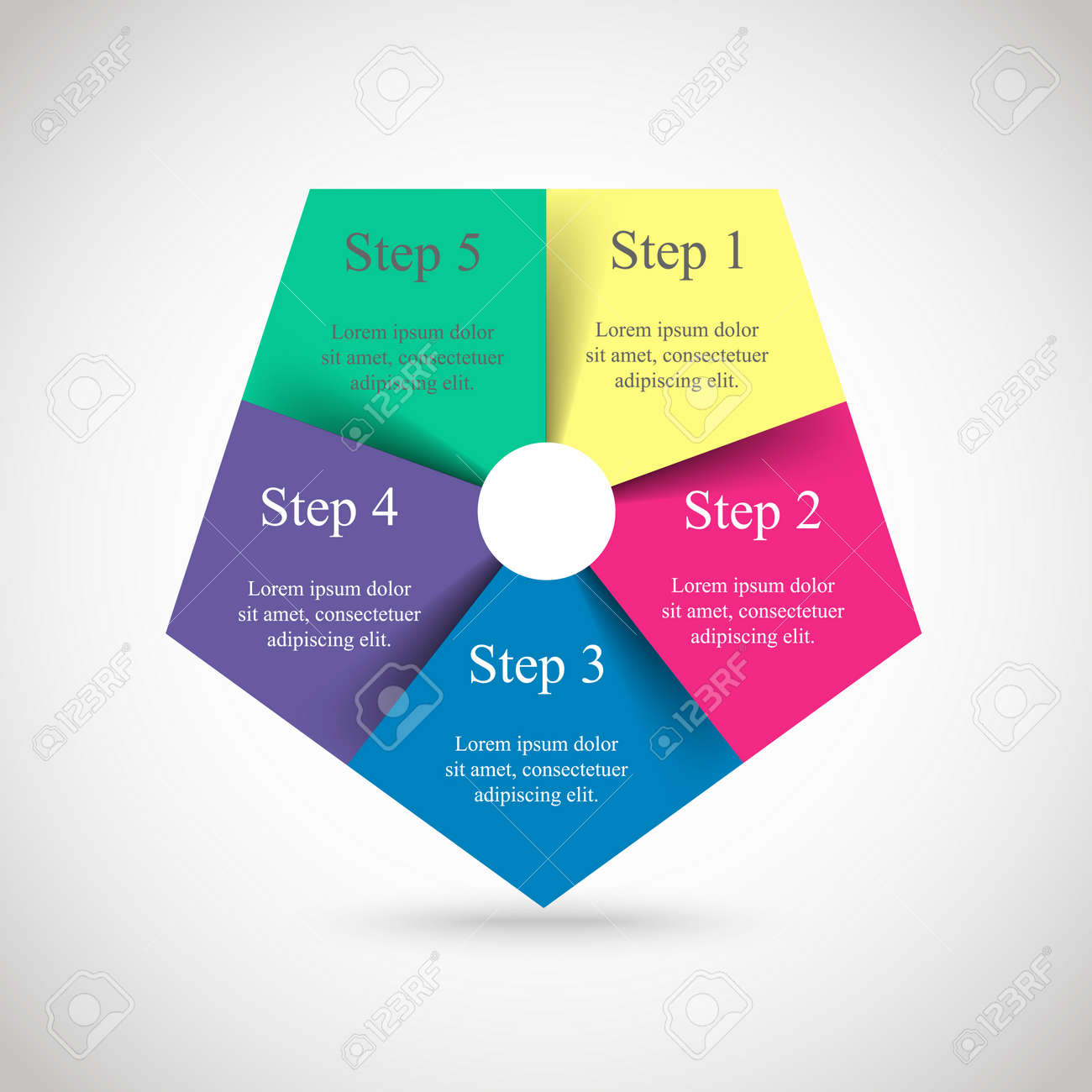 Template for diagram, graph, presentation and chart. Business concept with 5 options, parts, steps or processes. Vector infographic - 123921488