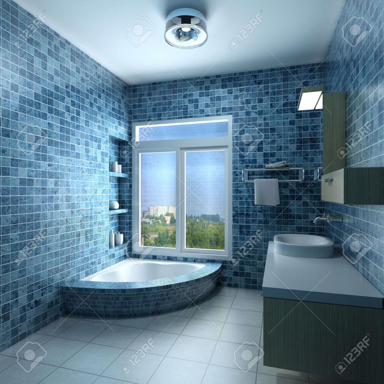 3d-rendering-innenraum ein modernes badezimmer lizenzfreie fotos, Badezimmer ideen