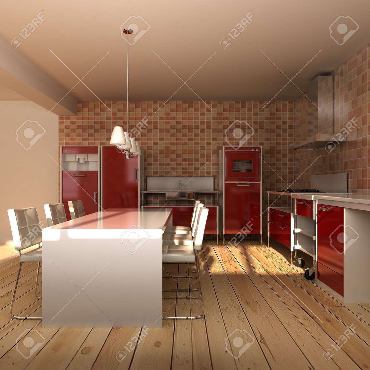 3d rendering interior of a modern dining room Stock Photo - 5522805