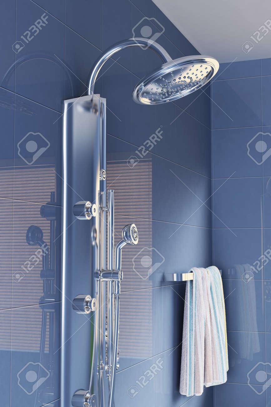 head shower in a modern bathroom.3d render Stock Photo - 5797008