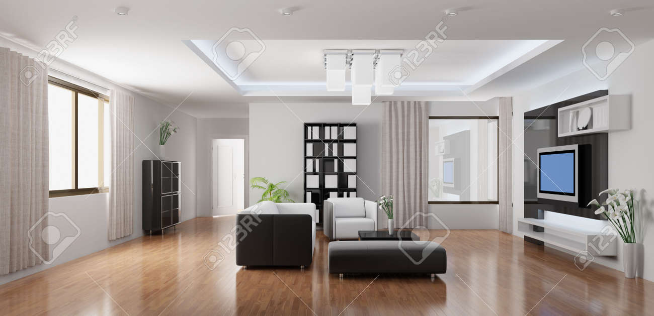 3d rendering a modern living room Stock Photo - 5861252