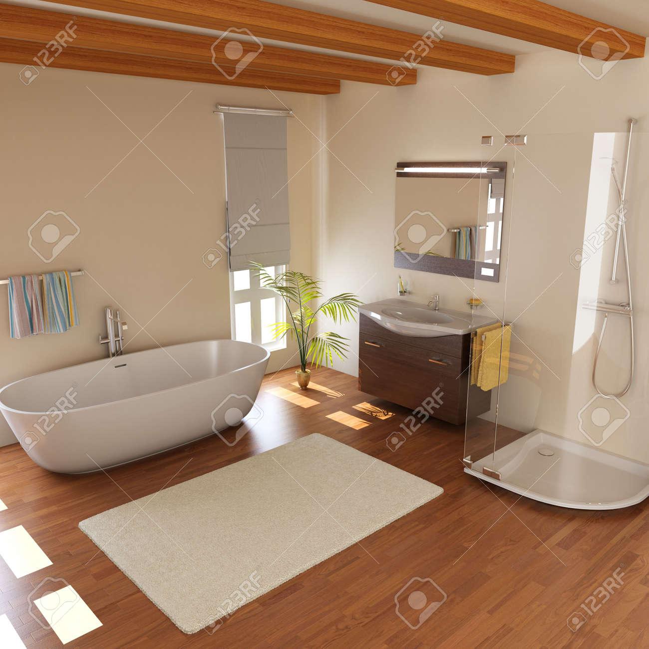 moderne badezimmer mit bathtub.3d render lizenzfreie fotos, bilder, Badezimmer ideen