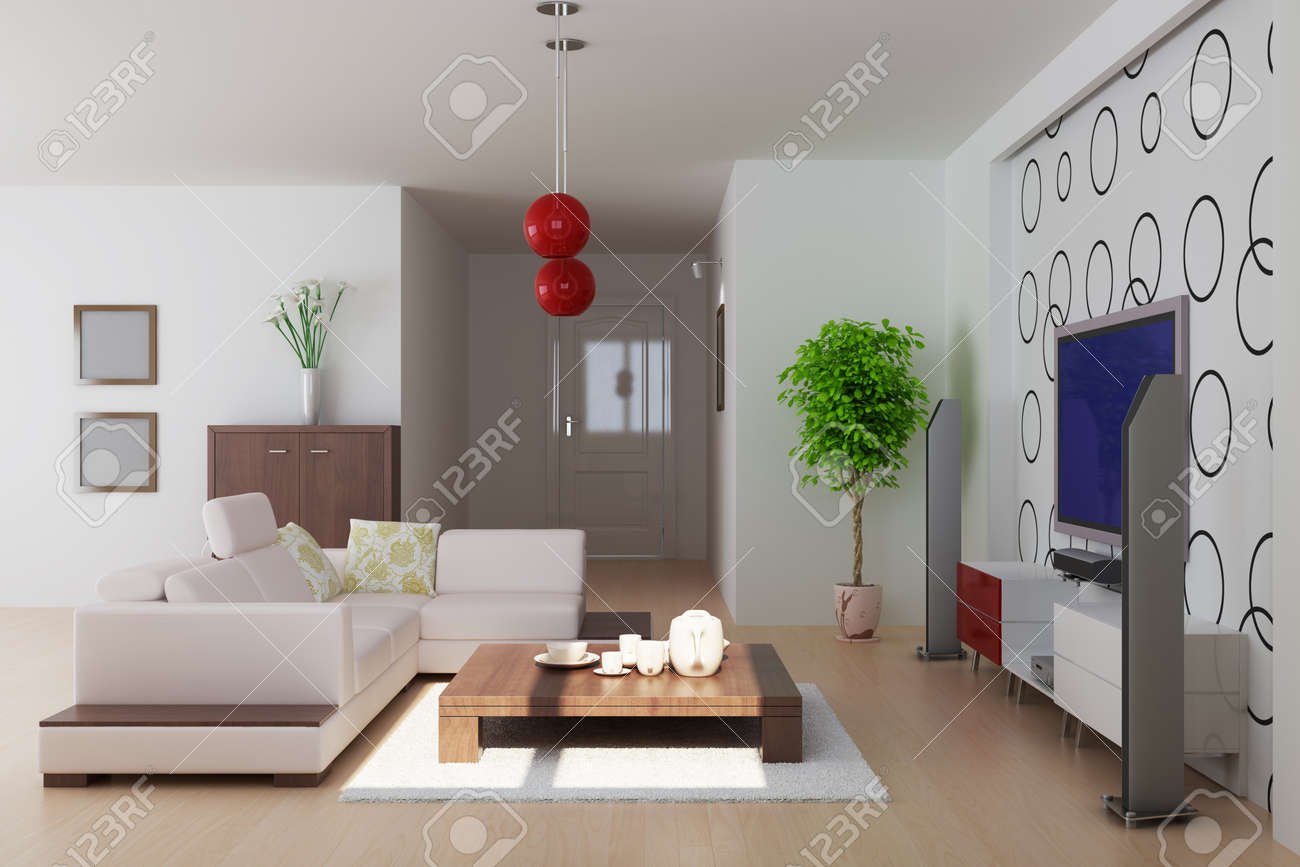 Modern Living Room3d RenderI Am The Designer Of Wallpaper Stock