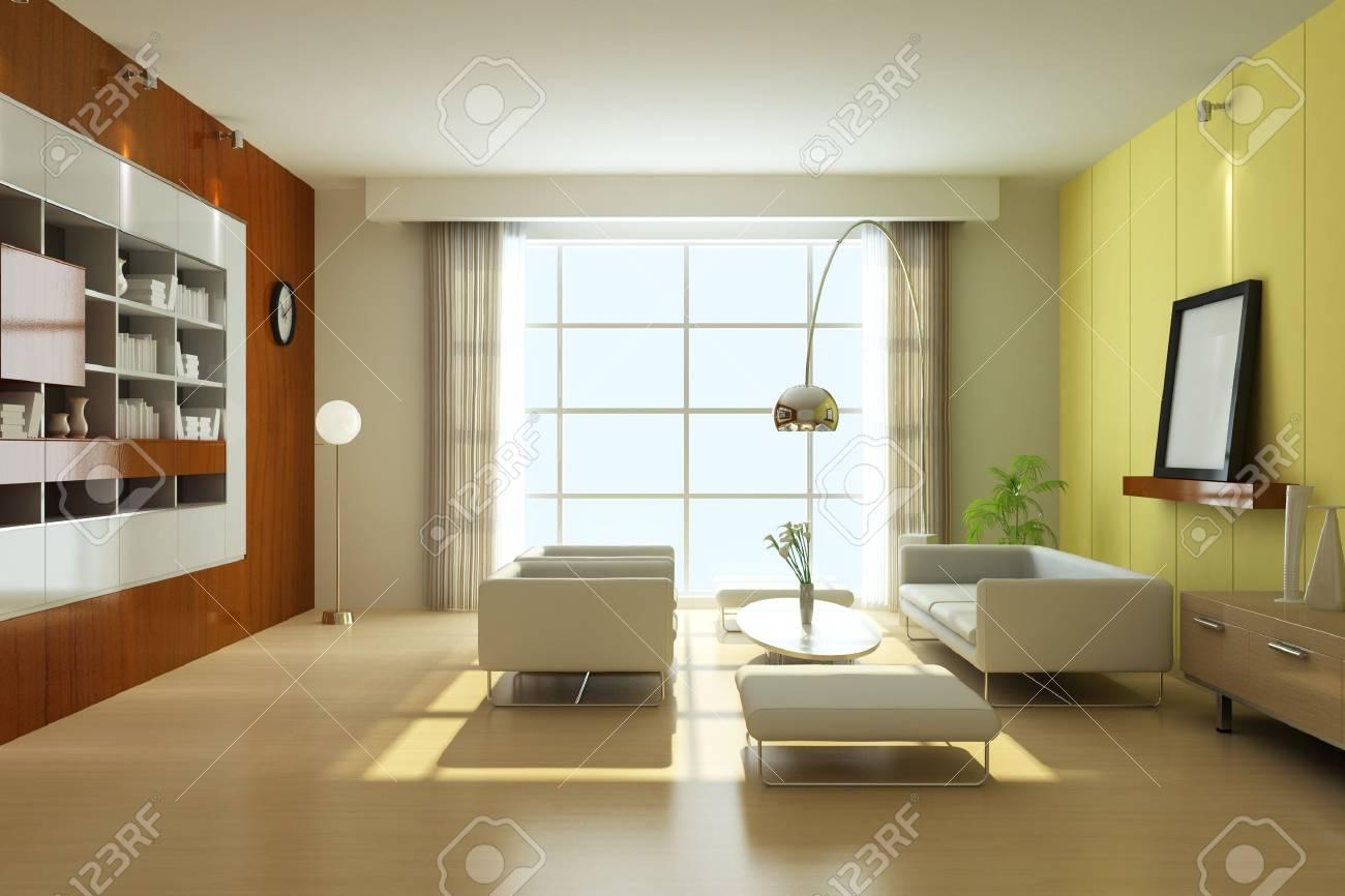 modern living room.3d render Stock Photo - 7118039