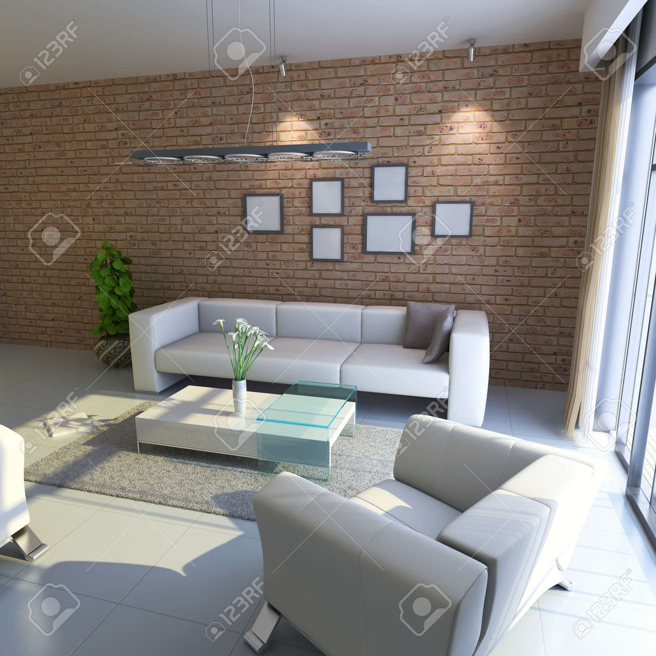 modern living room.3d render Stock Photo - 7118043