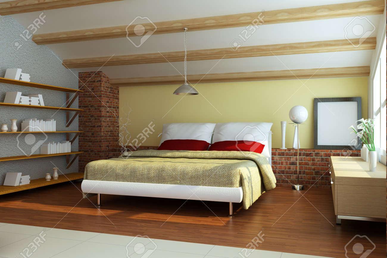 bedroom interior.3d render Stock Photo - 7162017